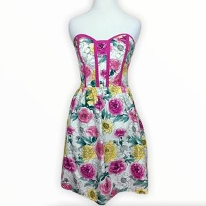 Strapless Watercolor Floral Dress